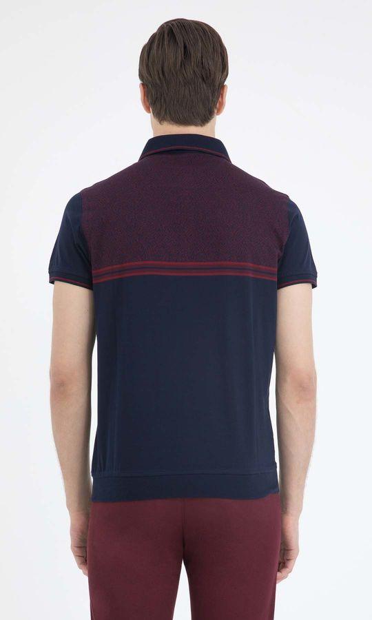 Lacivert Bordo Desenli Polo Yaka Tişört