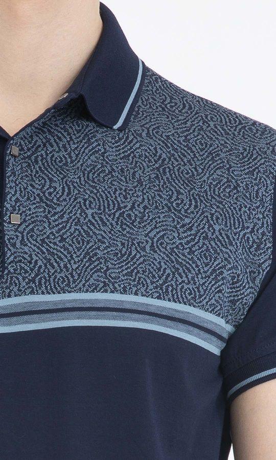 Lacivert Mavi Desenli Polo Yaka Tişört