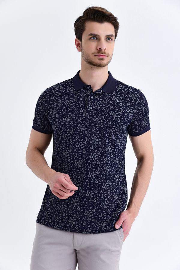 Lacivert Çiçek Desenli Polo Yaka Tişört