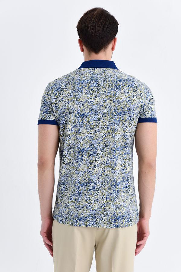 Lacivert Şal Desenli Polo Yaka Tişört