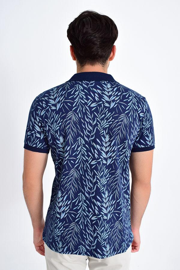 Lacivert Yaprak Desenli Polo Yaka Tişört