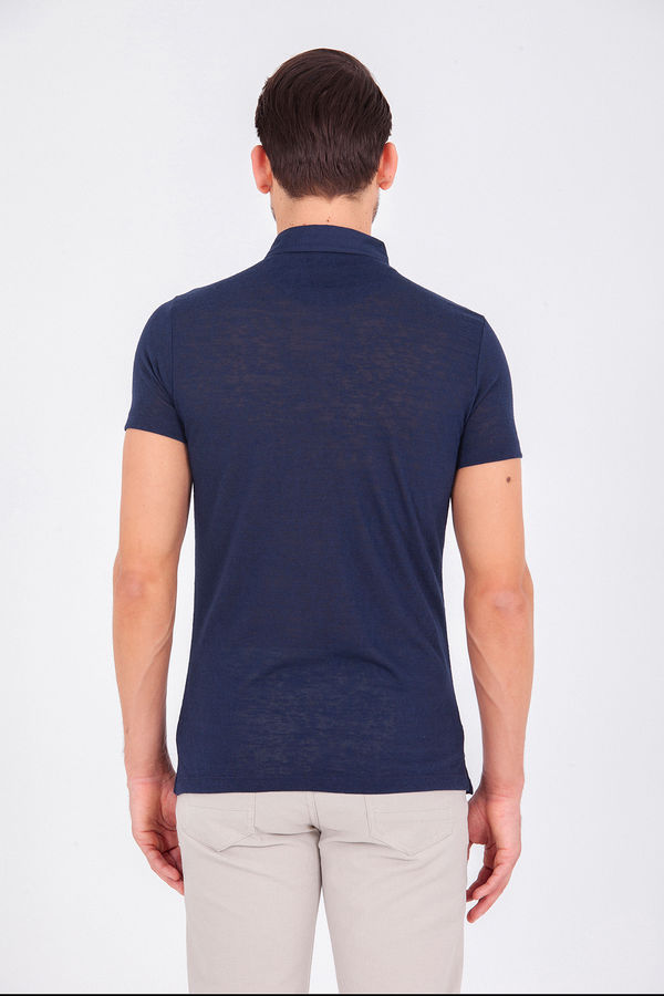 Lacivert Polo Yaka Basic Tişört