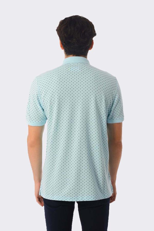 Açık Mavi Desenli Polo Yaka Tişört