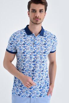 Mavi Çiçek Desenli Polo Yaka Tişört - Thumbnail
