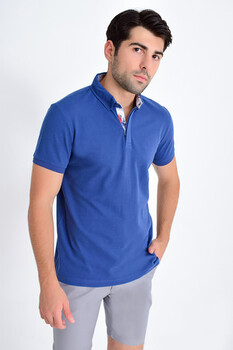 Mavi Yaka Desenli Polo Yaka Tişört - Thumbnail