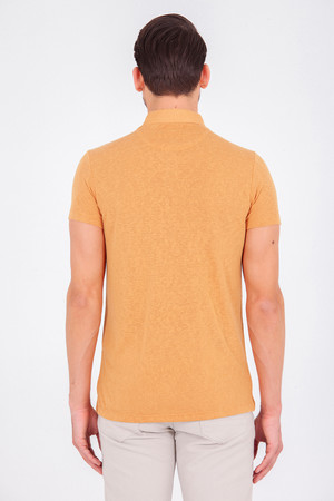 Hardal Polo Yaka Basic Tişört - Thumbnail