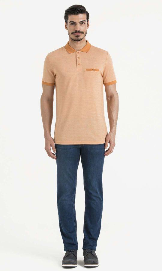 Turuncu Polo Yaka Desenli Tişört