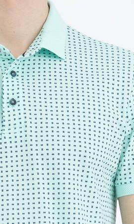 Yeşil Desenli Polo Yaka Tişört - Thumbnail