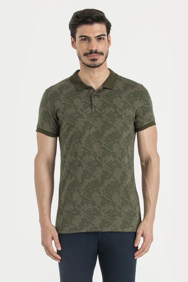 Haki Desenli Polo Yaka Tişört