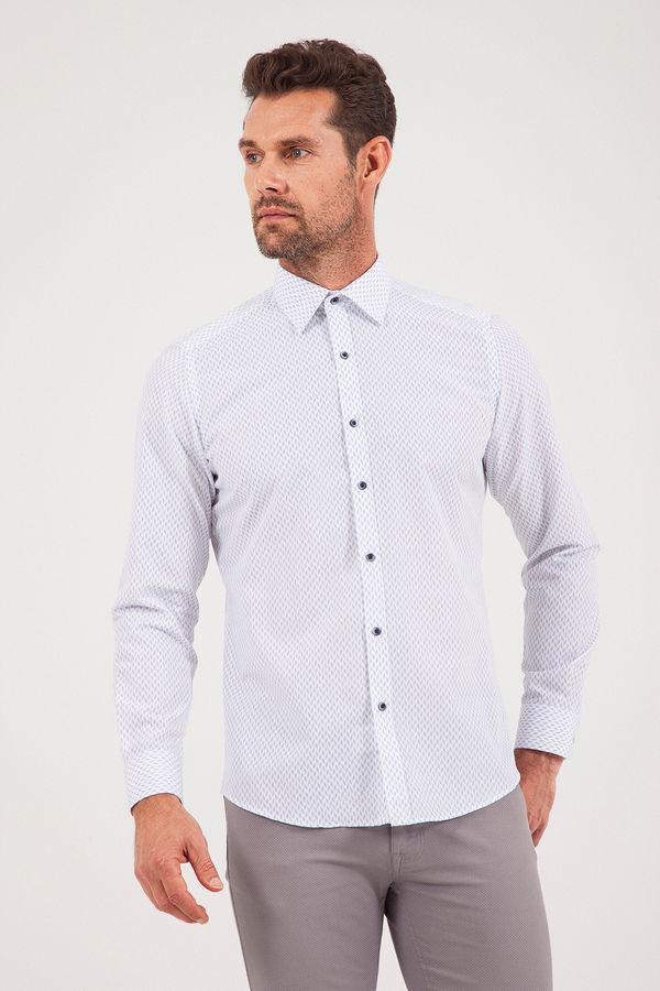 Desenli Regular Beyaz Gömlek