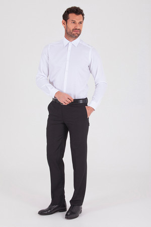 Regular Fit Armürlü Beyaz Gömlek - Thumbnail