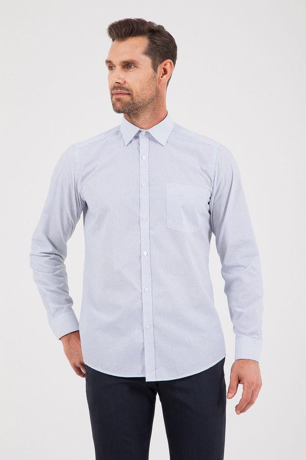 Desenli Regular Lacivert Gömlek