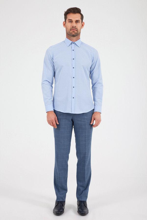 Desenli Regular Mavi Gömlek