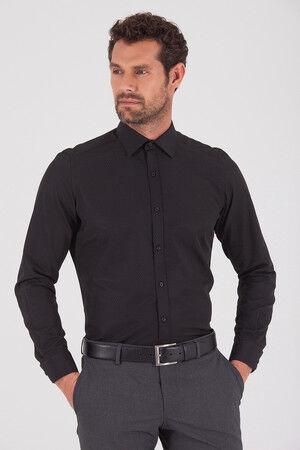 Desenli Regular Siyah Gömlek