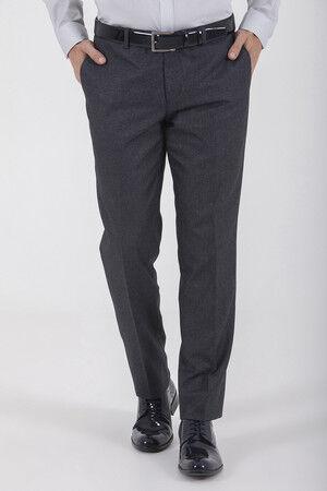 Antrasit Desenli Slim Fit Kumaş Pantolon