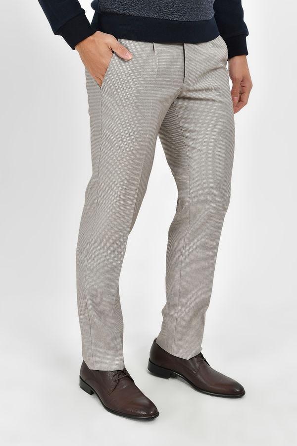 Bej Desenli Kumaş Pantolon