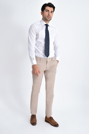 Bej Slim Fit Spor Pantolon - Thumbnail