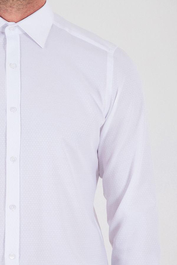 Desenli Slim Fit Beyaz Gömlek