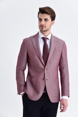 Bordo Slim Fit Desenli Blazer Ceket - Thumbnail