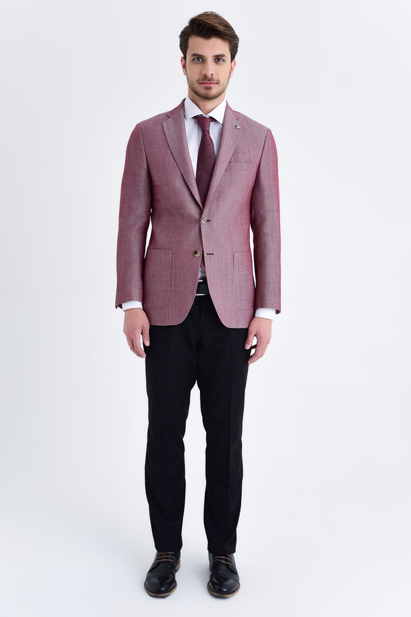 Bordo Slim Fit Desenli Blazer Ceket