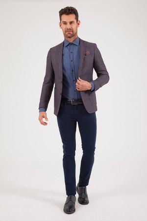 Bordo Slim Fit Desenli Klasik Ceket - Thumbnail