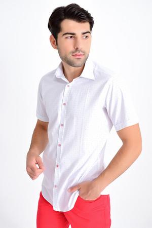 Beyaz Kısa Kol Desenli Gömlek - Thumbnail