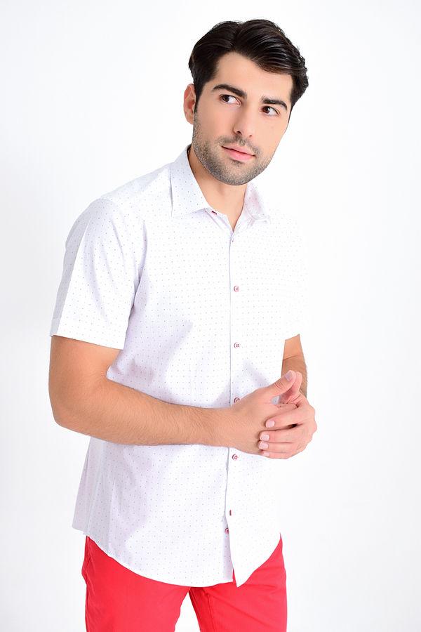 Beyaz Kısa Kol Desenli Gömlek