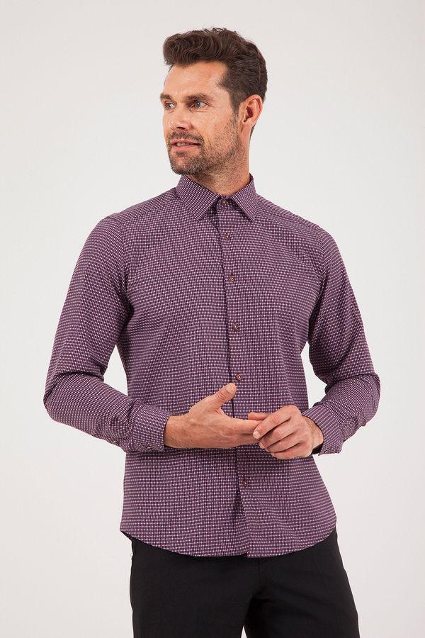 Slim Fit Desenli Bordo Gömlek
