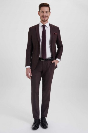 Desenli Slim Fit Bordo Takım Elbise - Thumbnail