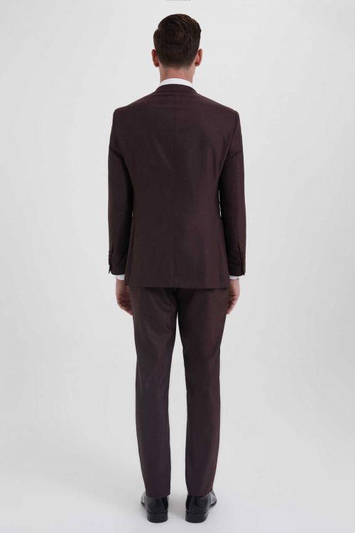 Desenli Slim Fit Bordo Takım Elbise