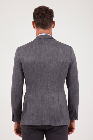Gri Slim Fit Desenli Klasik Ceket - Thumbnail