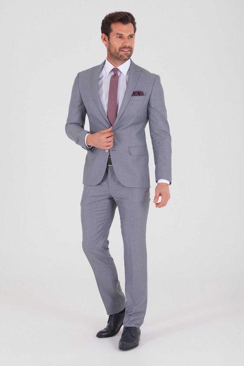 Açık Gri Desenli Slim Fit Takım Elbise