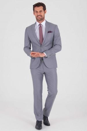 Açık Gri Desenli Slim Fit Takım Elbise - Thumbnail