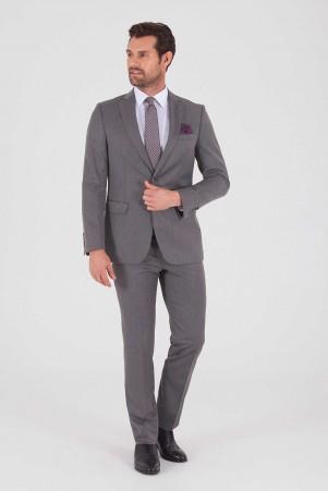 Gri Desenli Slim Fit Takım Elbise - Thumbnail