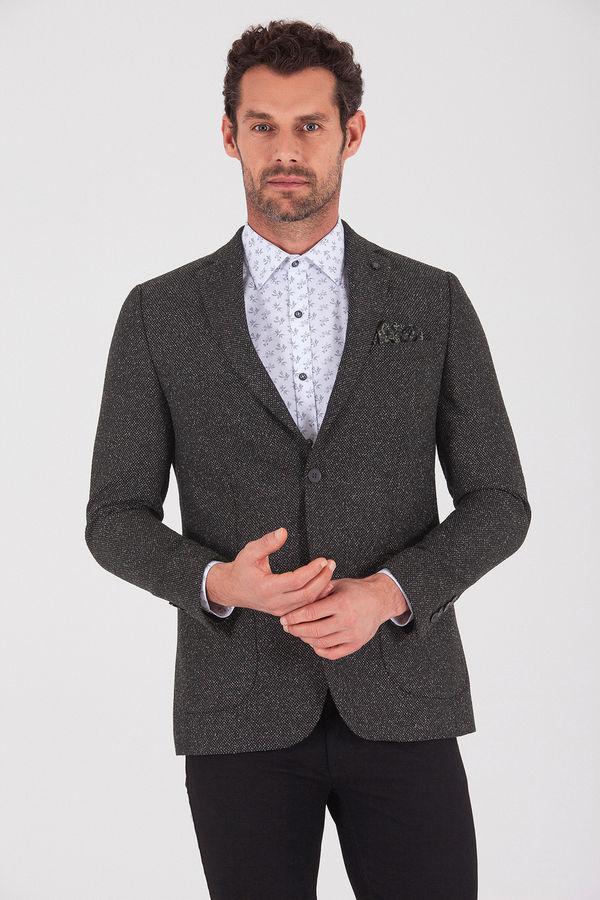 Haki Slim Fit Desenli Klasik Ceket