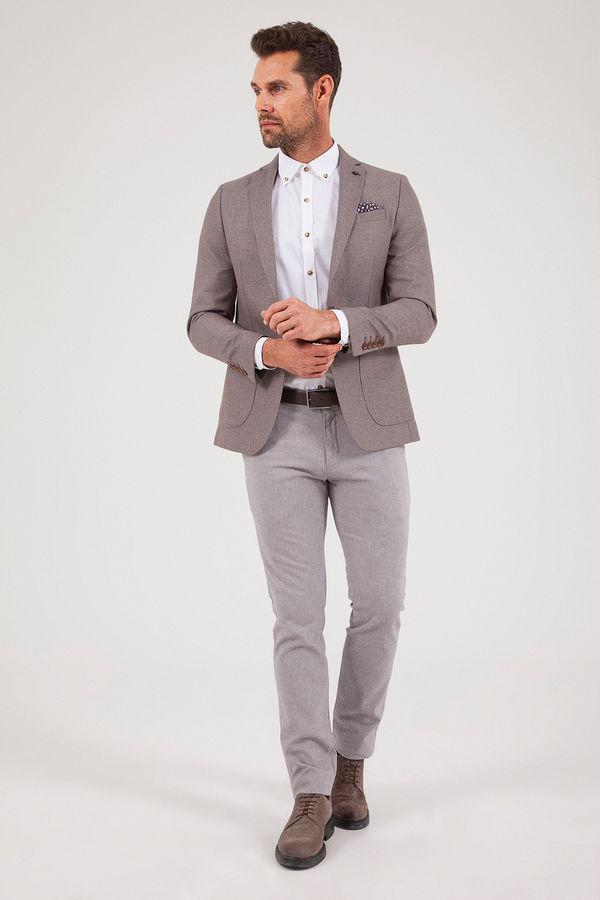 Desenli Slim Fit Kahverengi Ceket