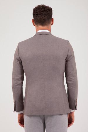 Desenli Slim Fit Kahverengi Ceket - Thumbnail