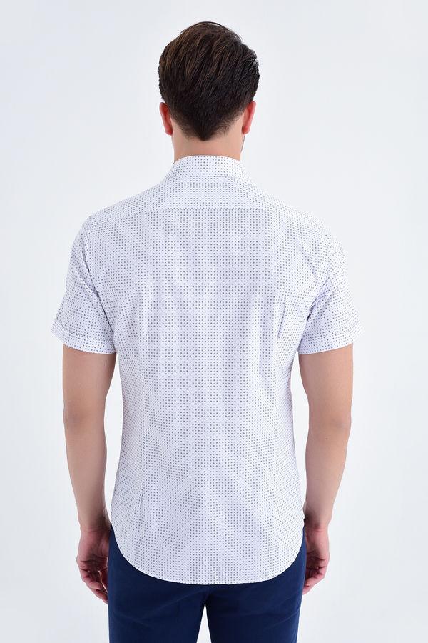 Desenli Slim Fit Kahverengi Gömlek