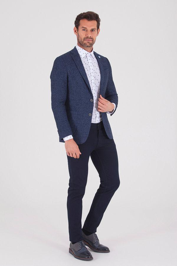 Lacivert Slim Fit Desenli Ceket