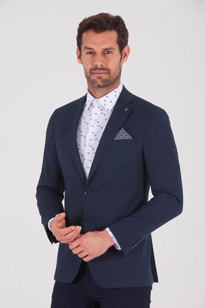 Lacivert Slim Fit Blazer Ceket - Thumbnail