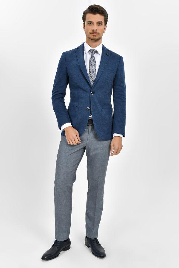 Mavi Slim Fit Desenli Klasik Ceket