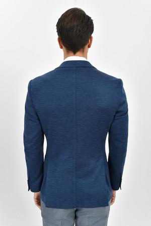 Mavi Slim Fit Desenli Klasik Ceket - Thumbnail