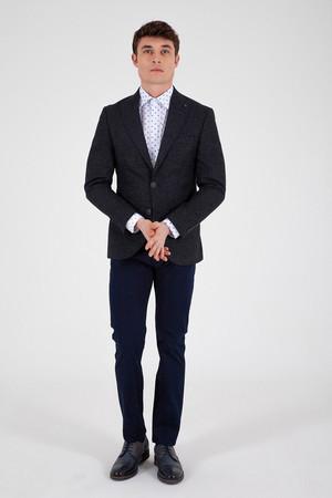 Lacivert Slim Fit Desenli Blazer Ceket - Thumbnail