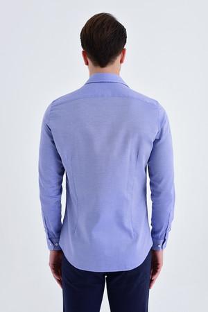 Desenli Slim Fit Lacivert Gömlek - Thumbnail