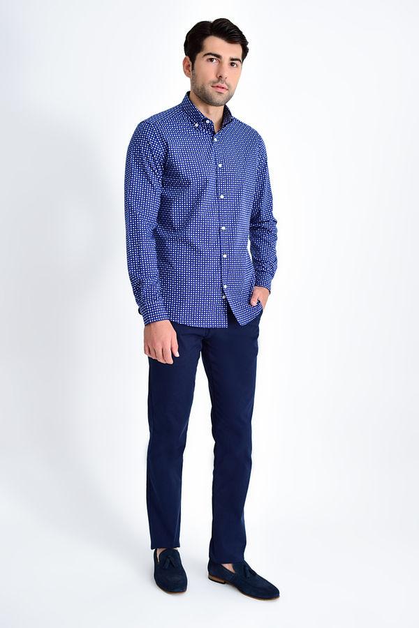 Slim Fit Desenli Lacivert Gömlek