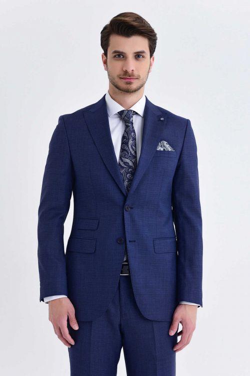 Açık Lacivert Desenli Slim Fit Takım Elbise