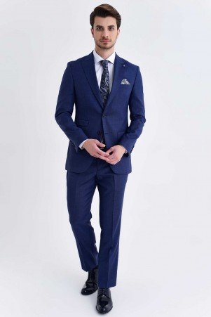 Açık Lacivert Desenli Slim Fit Takım Elbise - Thumbnail