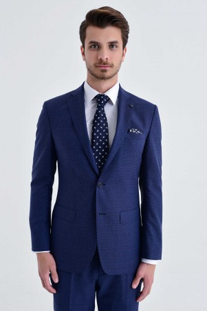 Açık Lacivert %100 Yün Slim Fit Takım Elbise - Thumbnail