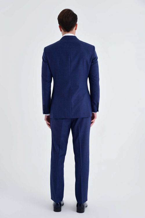 Açık Lacivert %100 Yün Slim Fit Takım Elbise