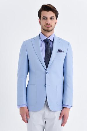 Açık Mavi Slim Fit Desenli Ceket - Thumbnail